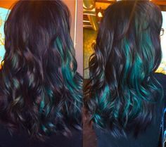 black and teal hair, green hair, peek a boo, pravana vivids… Hair Color Purple, Cool Hair Color, Blue Hair, Hair Colors, Black And Green Hair, Gray Hair, Peekaboo Hair, Mermaid Hair, Hair Dos
