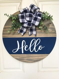 Excited to share the latest addition to my shop: Front Door Hanger Wooden Door Signs, Wooden Door Hangers, Diy Wood Signs, Wooden Decor, Wooden Diy, Wooden Crafts, Fall Door Hangers, Wooden Signs For Home, Home Wood Sign