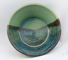 Stoneware pottery bowl (10 oz), with green, black, and blue glaze in landscape pattern, spiral throwing marks - pinned by pin4etsy.com