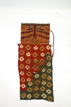Peru-'Sihuas Mummy Mask with tie-dye panel (twin green)'-David Bernstein Pre-Columbian Art