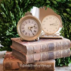 Vintage Set of Two Old Brass Desk Clocks by edithandevelyn