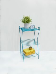 Mid-Century Blue Wire Stand