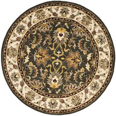 An intricate Oriental design and dense, thick pile highlight this handmade rug. This floor rug has a black background and an ivory border and displays stunning panel colors of blue, red, green, ivory and gold.