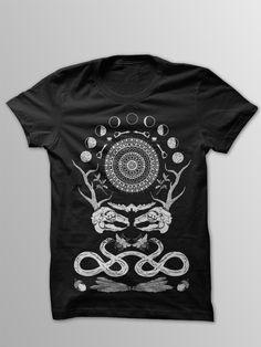Rabbit Skull Antler Collage Black T-Shirt by FennecDesignCo