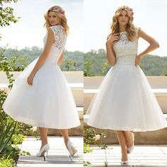 Tea Length -Chiffon ~ Natural Lace Wedding Dress