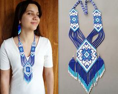 blue jewelry set 2 pieces necklace and earrings, native american style ethnic jewelry, necklace seed bead, Long necklace