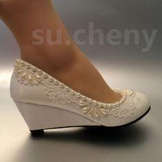 Ideas Wedding Shoes Wedge Lace White Bridal For 2019 Bridal Shoes Wedges, Best Bridal Shoes, Wedge Wedding Shoes, Bridal Wedding Shoes, Wedding Boots, Ivory Wedding, Low Heel Shoes, Wedge Shoes, Tiffany Blue Heels