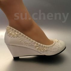 """c4aa6e972d3984 2"""" heel wedges lace white light ivory pearl Wedding shoes Bridal low size 5-"""