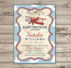 Airplane Baby Shower Invitations Red Navy Blue Old Theme Map Party Vintage  Red Cargo Invitation Template Rustic Special Delivery NV2126