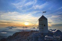 The Aljaž tower on Triglav, Slovenija Country Information, Heart Of Europe, Hidden Beauty, Adriatic Sea, The Republic, Alps, Tower, Culture, Mountain Cake