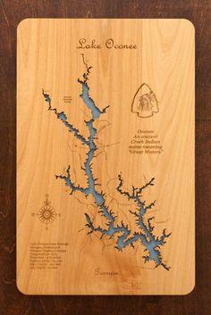 wooden laser engraved lake map wall hanging.