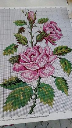 Cross Stitch Rose, Cross Stitch Borders, Cross Stitch Flowers, Cross Stitching, Cross Stitch Embroidery, Cross Stitch Patterns, Embroidery Hoop Crafts, Embroidery Patterns, Machine Embroidery