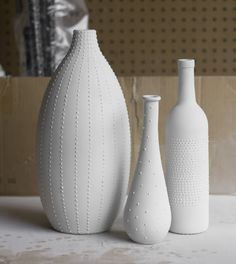 puff paint and spray painted vases.