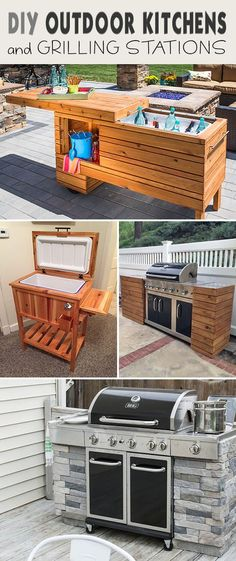 Lots of great ideas and tutorials showing you how to DIY your own built-in BBQ, grilling station or full on outdoor kitchen! • DIY Outdoor Kitchens and Grilling Stations! #DIYoutdoorkitchens #outdoorkitchens #grillingstations #DIYgrillingstations #DIYbuiltinBBQ #DIYgardenprojects