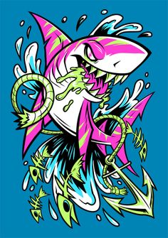 SHARK SPLASH now available as shirts, tanks, hoodies and more in my Design By Humans shop! Graffiti Art, Graffiti Doodles, Graffiti Drawing, Cartoon Kunst, Cartoon Art, Art And Illustration, Animal Drawings, Art Drawings, Dope Kunst