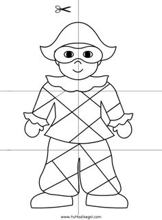 scuola-infanzia-arlecchino Carnival Crafts, Kids Carnival, Drawing For Kids, Line Drawing, Counting Worksheets For Kindergarten, Magic Crafts, Crafts For Kids, Arts And Crafts, Doll Crafts