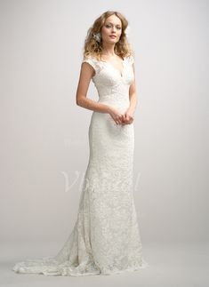 Wedding Dresses - $233.99 - Sheath/Column V-neck Sweep Train Charmeuse Lace Wedding Dress (0025056613)