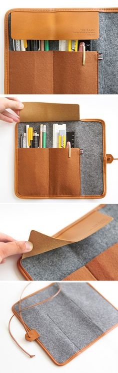 Diy The basic felt roll pencil case Crea Cuir, Diy Pencil Case, Pencil Cases, Pencil Case Tutorial, Pouch Tutorial, Pencil Pouch, Sewing Crafts, Sewing Projects, Art Projects