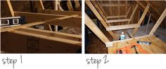 How to make a shelf. Diy Storage Shelves In The Attic - Step 1 Makeup Storage Shelves, Loft Storage, Kids Storage, Garage Storage, Storage Organization, Storage Ideas, Garage Shelf, Under Stairs Storage Solutions, Stitches