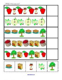 Back To School, Fall, and Johnny Appleseed Day Preschool Printables … Preschool Apple Theme, Apple Activities, Fall Preschool, Preschool Lessons, Preschool Classroom, Preschool Learning, Kindergarten Math, Preschool Activities, Teaching