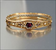 Edwardian Bracelet Antique Jewelry Gold Bangle Pearl/Love, love, love!!  Oh how I would love to have this bangle!!