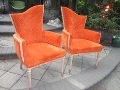 Pair Hollywood  Regency Modern Orange Velvet Arm Chairs