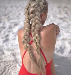 Boxer braids! Braid as tight as you want and you can get along swimming. #hairinspiration
