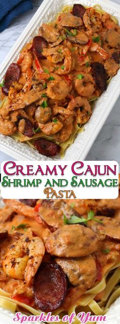 Creamy Cajun Shrimp and Sausage Pasta - Sparkles of Yum Creamy Cajun Shrimp and Sausage Pasta, is a celebration of flavors in one outstanding dish. I totally thought it tasted like I had ordered from a restaurant. This sauce is absolute Cajun heaven! Cajun Shrimp And Sausage Pasta Recipe, Cajun Shrimp Recipes, Sausage Pasta Recipes, Cajun Shrimp Pasta, Pastas Recipes, Easy Chicken Dinner Recipes, Seafood Recipes, Creamy Cajun Pasta, Cajun Food