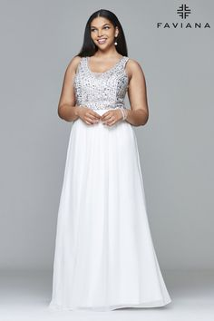 Faviana - 9388 Chiffon v-neck plus size prom dress with beaded bust lowbackdresses Low Back Dresses, Best Prom Dresses, Plus Size Prom Dresses, Prom Dresses Online, Spring Dresses, Faviana Dresses, Long Evening Gowns, Designer Prom Dresses, Perfect Prom Dress
