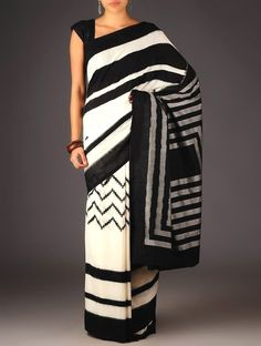 Are you looking for quality Classic Indian Saree like Elegant Designer Saree and Blouse in which case CLICK Visit link for more info Black And White Saree, Black White, Cotton Sarees Online, Modern Saree, Wedding Sari, Stripped Dress, Blouse Neck Designs, Net Saree, Indian Attire
