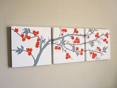 The colors in this Orange and Grey Cherry Blossom Triptych Painting are very modern and popular in home decor right now. I love this color combination. I