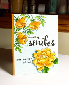 https://flic.kr/p/DKcNsn | Sending Smiles . . . | I used the Peony Garden set from Altenew - colored with Copics. Love, love, love this set!