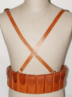 WWII Chinese Army Mauser C96 Leather Chest Rig Ammo Pouch