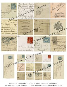 Inchies Squares Postage Ephemera French by EmpireLineStamps
