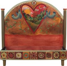 Sticks Furniture Queen Headboard With Foot Rail BED034 eclectic-headboards