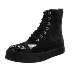 Shop the latest collection of T. Shoes Womens Boots, Black Faux Suede Embroidered Kitty Sneaker Boot from the popular stores - all in one Creeper Boots, High Top Sneakers, High Heels, Womens Clearance, Comfortable Sneakers, Sneaker Boots, Cute Shoes, Fashion Boots, Black Boots