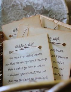 Wish Bracelet Wedding Favors Unique and Fun by thepaperynook, $1.95