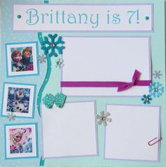FROZEN birthday or other occasion 12x12 Premade by JourneysOfJoy