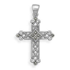 SALE! TAKE 15% OFF REG.PRICE!-  Oxidized Marcasite 925 Sterling Silver Cross by ForsgateJewelry, $42.75