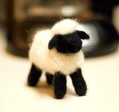 Needle felted sheep. |