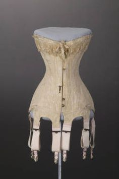 Wedding Corset (S-Curve), 1909    I had the pleasure of 'discovering' this corset in storage when I was looking for objects for the I Do! Chicago Ties the Knot exhibition at the Chicago History Museum. This corset had never before been exhibited and required the creation of a custom form to show the unique silhouette.  Label: Madame Lemal