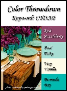 Rich Razzleberry/Pool Party/Very Vanilla/Bermuda Bay Color Throwdown 202 color challenge Colour Schemes, Color Combinations, Paint Schemes, Colour Palettes, Stampin Up, Colours That Go Together, Greige, Color Palate, Coordinating Colors