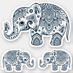Shop Navy-blue elephant vintage floral paisley sticker created by artOnWear. Design Your Own Stickers, Elephant Illustration, Decorated Water Bottles, Elephant Pattern, Vinyl Sheets, Personalized Stickers, Animal Skulls, Mandala Pattern, White Ink