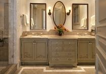 Beach Style Bath Custom Hand Painted Vanity with Sea Shell Accents Fossilized Verde Limestone, Custom Lighting and Mirrors, Fittings by Waterworks  Bath  TraditionalNeoclassical  Coastal  Transitional by Juli Baier Interior Design