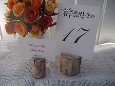 rustic wood table number holders