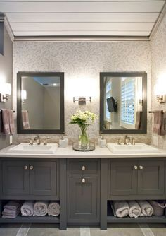 painted cabinetry; gray cabinets; grey cabinetry; bathroom cabinets; bath cabinetry; bathroom vanity; vanity in bath; built in hamper; custom; wood