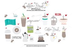 Check out Coffee Break Vector & PSD Clipart by Holly McCaig Creative on Creative Market