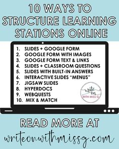 How to Structure Learning Stations Online - Write on With Miss G Teaching Strategies, Teaching Tools, Teaching Resources, Teaching Ideas, Classroom Procedures, Classroom Ideas, Classroom Management, Teaching Technology, Technology Integration