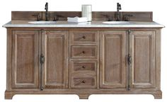 "72"" Providence Driftwood Double Sink Bathroom Vanity Soft-Close Door/Drawers"