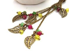 Leaves bag charm vintage style red green yellow beads